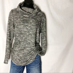 Sonoma Space Dye Marled Knit Cowl Neck Tunic Top